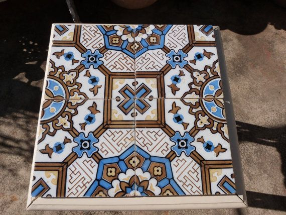 Antique floor mosaic tile architecture salvaged terracotta, French vintage tiles ceramic architectural salvage decor, jeanne d arc living