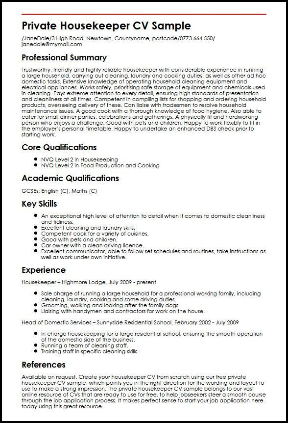 Resume Format Housekeeping Resume Examples Resume Profile Examples Sample Resume
