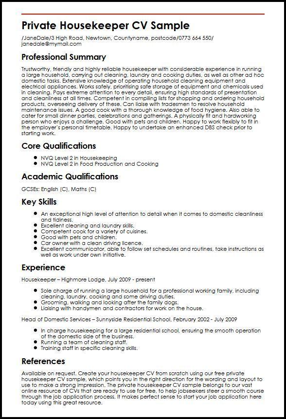Resume Format Housekeeping Job Resume Examples Sample Resume Templates Resume Examples