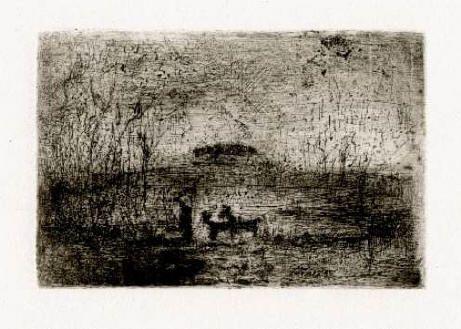 Bohuslav Reynek Cesta na pastvu / Road to Pasture suchá jehla / dry point 7,8 x 11,8 cm, 1961, otisk z původní desky, opus G 495