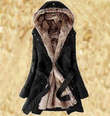 Fur Coat Black Parka Jackets Super Soft Lining Thick Winter Coats with Hood