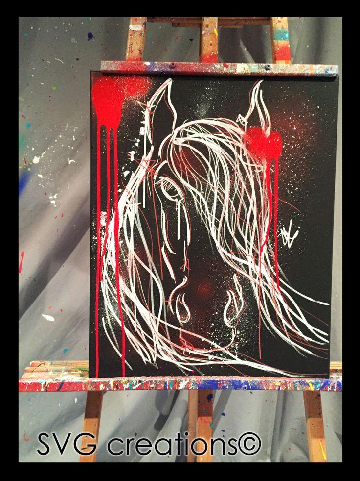 Cheval noir et blanc peinture abstraite moderne giclées 16 x 20 acrylique de la boutique SVGCreations13 sur Etsy