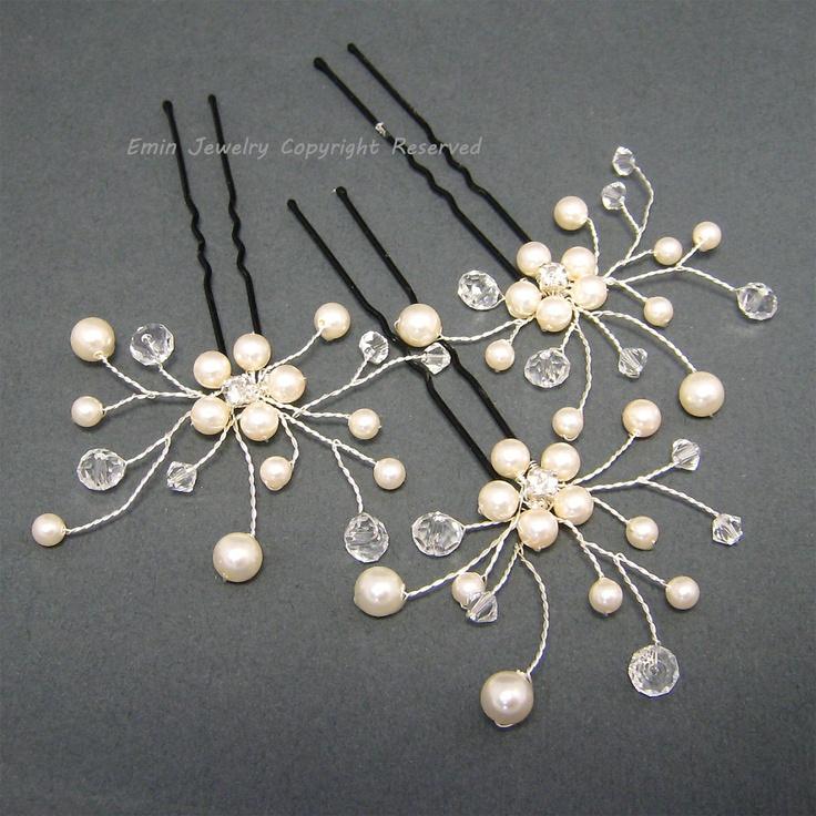 3 Bridal Hair Pin Set H024,  Ivory  Swarovski Pearls Crystal Bride Bridesmaids Wedding Hair Accessories, Bridal Hair Jewelry Head Piece. $42,00, via Etsy.