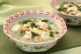 豆腐と干し海老のわかめスープ