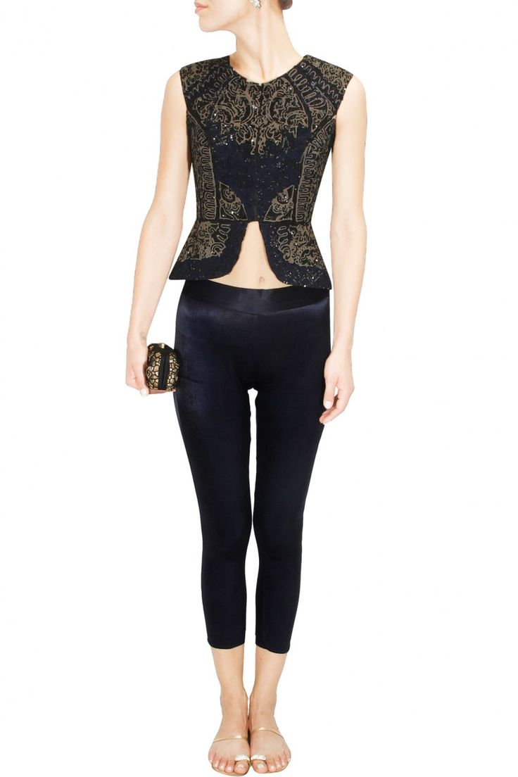 Black sequins embroidered peplum jacket with black stretch satin pants available only at Pernia's Pop Up Shop.