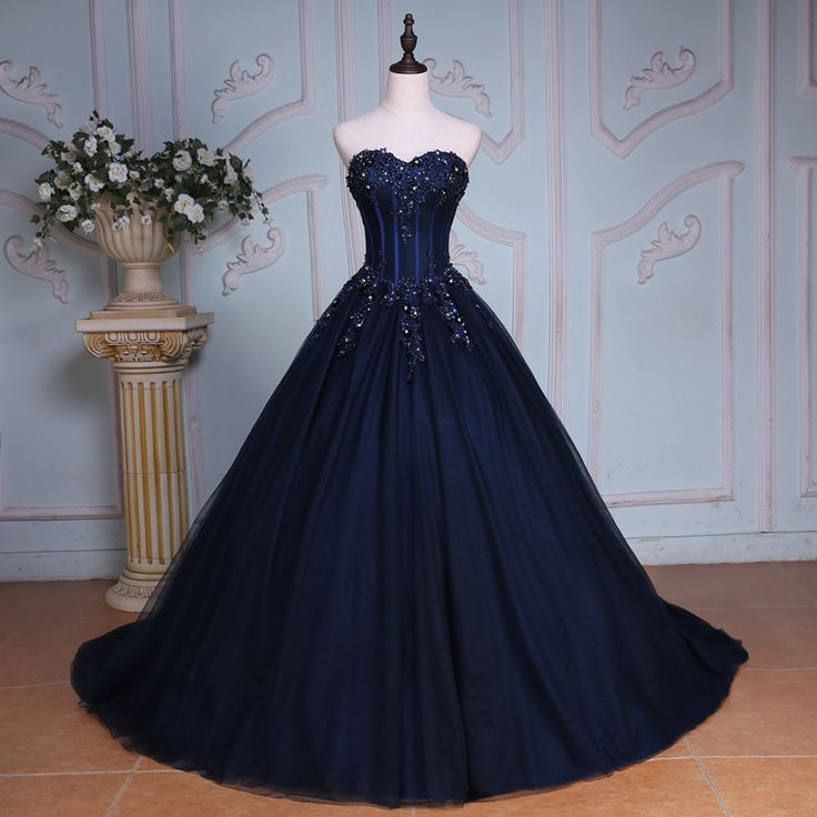 Gorgeous Navy Blue Quinceanera Dresses Sweetheart Backless Top Applique Pearl Tulle Chapel Train Ball Gown Princess Bridal Gowns Prom Dresses