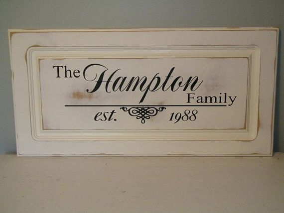 Family name sign made from an upcycled cabinet door.   http://www.etsy.com/shop/ACraftyChick?ref=si_shop