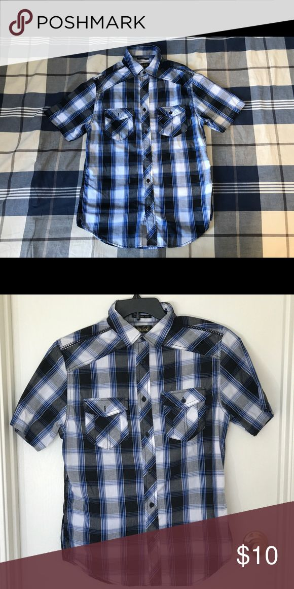 Helix short sleeved flannel shirt Helix short sleeved flannel shirt! Barely worn! Colors included blue, black, grey, and white! Willing to bargain :) helix Shirts Casual Button Down Shirts