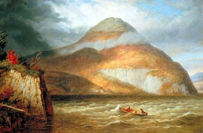 Cornelius Krieghoff - Canadian Painter. Owl's Head and Skinner's Cove, Lake Memphremagog, Quebec, 1859