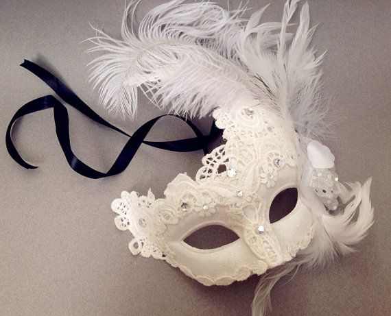 White Masquerade Mask Black White Lace Feather By