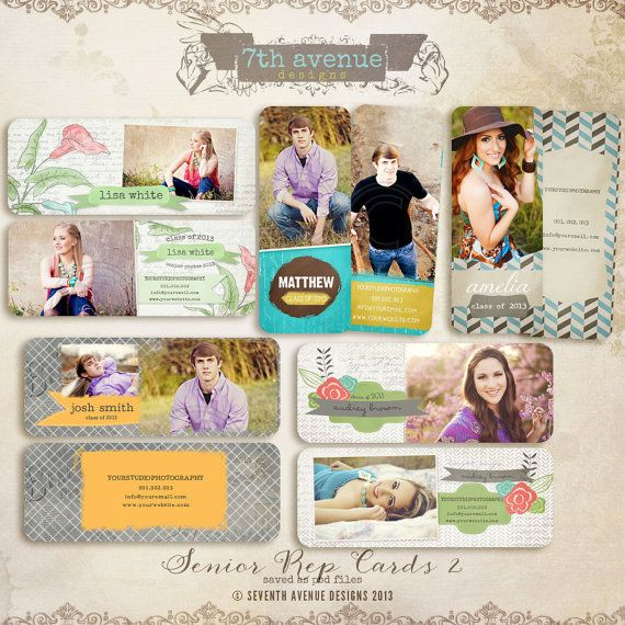 Senior Rep Card templates for photographers by 7thavenuedesigns, $25.00