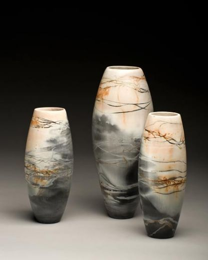 Ceramics by June Ridgway at Studiopottery.co.uk - 2011. Height 260-360mm burnished, saggar fired