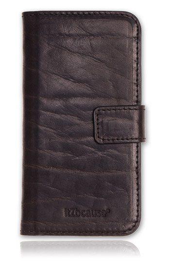 Stoere Bull leather bookcase iPhone 5 & 5S telefoonhoesje. Bekijk deze en andere telefoonhoesjes op http://telefoonhoesjes-shop.nl