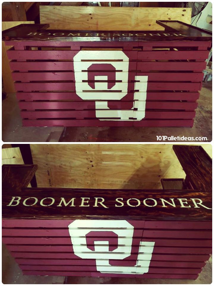 Custom Pallet Bar, zero cost price and comes with a custom logo and painted over name letters - 50+ Best-loved Pallet Bar Ideas & Projects | 101 Pallet Ideas