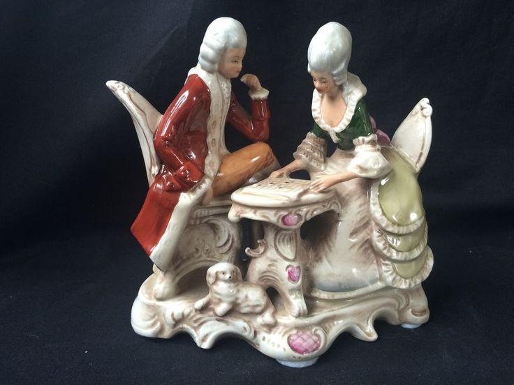 Antique german GDR (grafenthal) porcelain Figurine. playing Dams  #Grafenthal #grafenthal