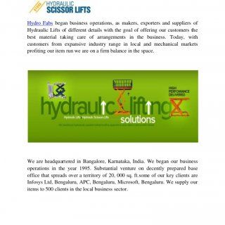 Hydraulic Vehicle Lift- www.scissorslift.co.in Hydraulic Vehicle Lift Manufacturers – Hydro Fabs Hydro Fabs began business operations, as makers, exporters. http://slidehot.com/resources/hydraulic-vehicle-lift.61290/