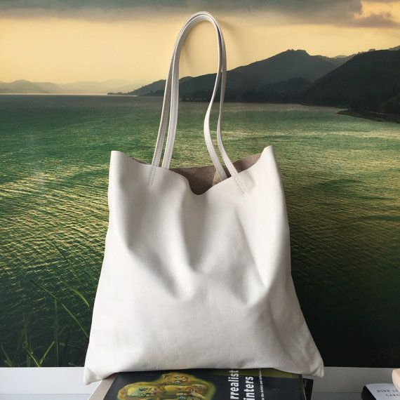bohemian summer - soft white leather tote bag