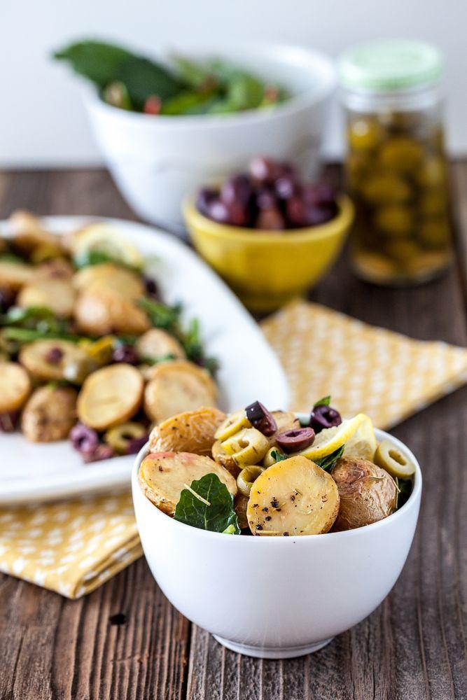 Warm Lemony Olive Potato Salad -