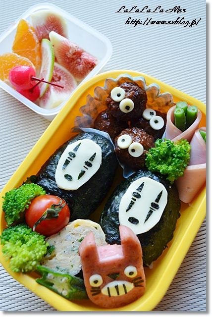 Ghibli Kyaraben Bento (Nori Riceball No-Face, Meatball Kurosuke and Ham Totoro) by jena