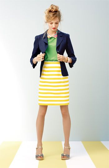yellow and white striped pencil skirt - lime green top - navy blazer - silver shoes
