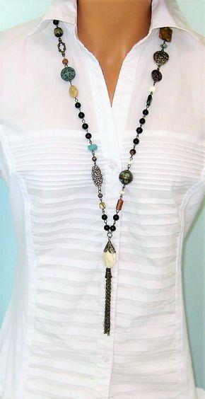 0c7f9a08f479 Borlas con cuentas de collares collares largos con cuentas  jewelrynecklaces
