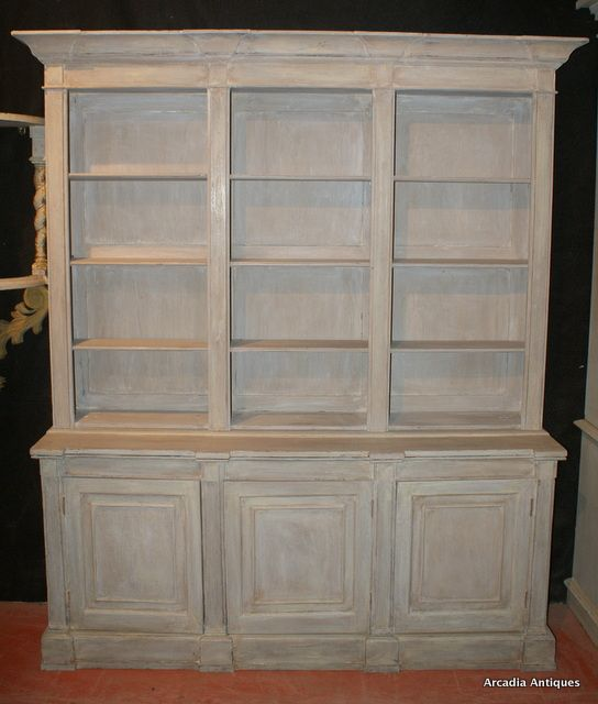 Good 19th C Painted Breakfront Bookcase Open Top With A 3 Drawer Door