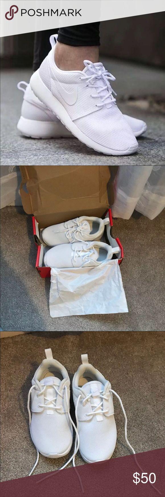 NIKE KIDS ALL WHITE ROSHE RUNS NIKE ROSHE RUN ALL WHITE SIZE KIDS 12 NIKE 12C NEVER WORN PURCHASED THE WRONG SIZE also sold on merc!! Nike Shoes Sneakers