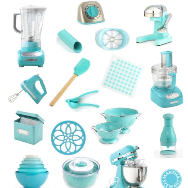 Tiffany blue appliances and accessories for a total for Kitchen decor items