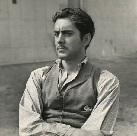 Tyrone Power on the set of Jesse James, 1939