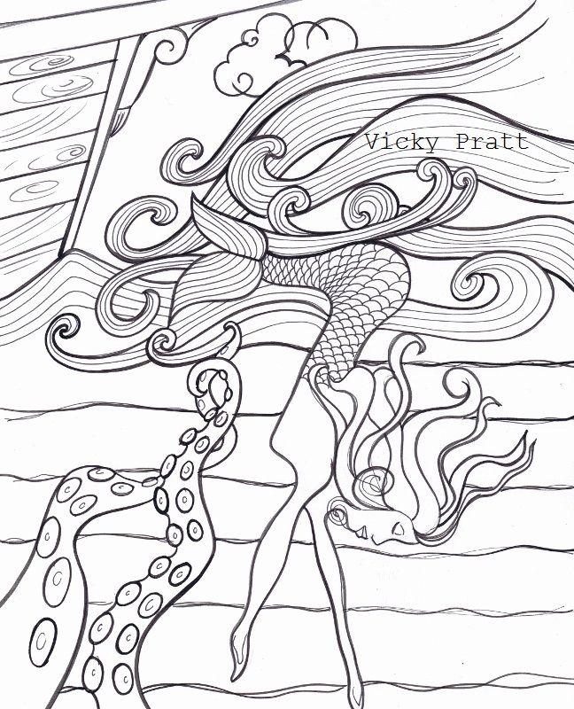 By Vicky Pratt. Mermaid ship and octopus. Ink. For Inktober 2015. www.vicpratt.wix.com/vickypratt Find me on FB and IG Vicky Pratt - Illustrator.