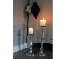 Nydelig sølvfarget lysestake,Kommer i 2 størrelser