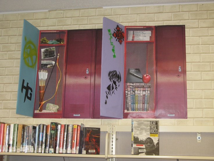 "Teen bulletin board display at Georgina Cole Library featuring Hunger Games and Death Note themes. The whole board is covered with ""lockers"" like these. Switch out the themes to freshen things up throughout the year. Subway tile wallpaper was used as the background for a school hallway feel."