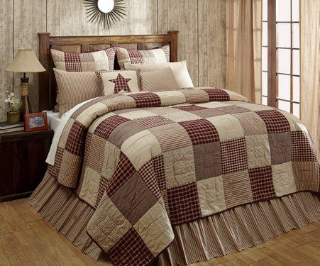 """Check out our Brand New Exclusive Cheston Patchwork Block Luxury King Quilt! It is a simple 9x9"""" patchwork block square in coordinating fabrics and can be reversed to a solid burgundy back. The timeless homespun fabrics will create a cozy environment to come home to every night. It can only be purchased through our online store at http://www.primitivestarquiltshop.com/Cheston-Patchwork-Block-Luxury-King-Quilt_p_10022.html"""