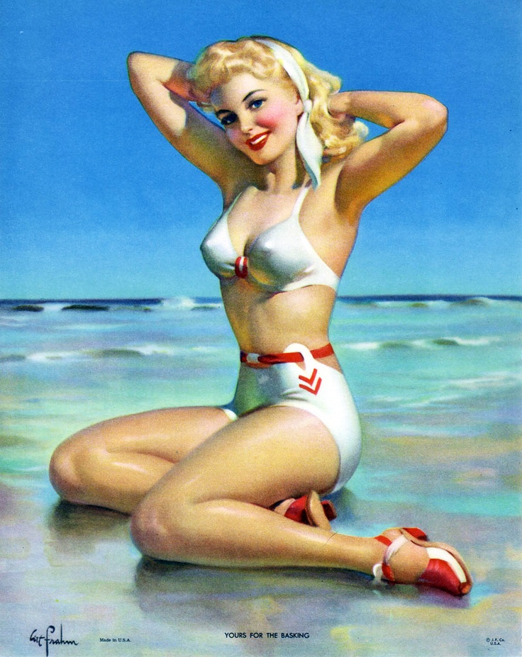 """""""Yours For the Basking"""" by Art Frahm 1940's   I want to Remake vintage pinups for a calender for Chases 30th!"""