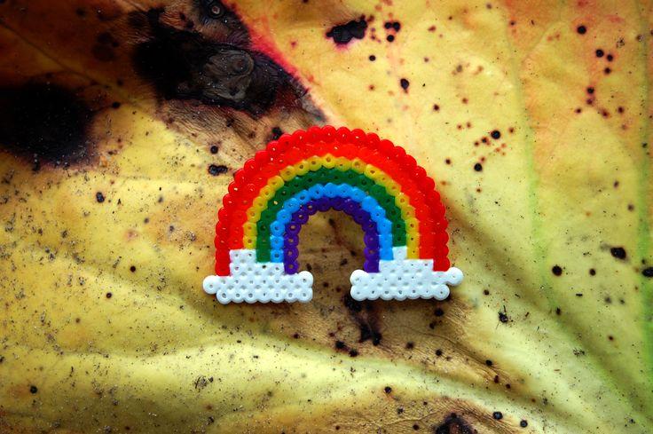 Rainbow brooch (mini hama beads)