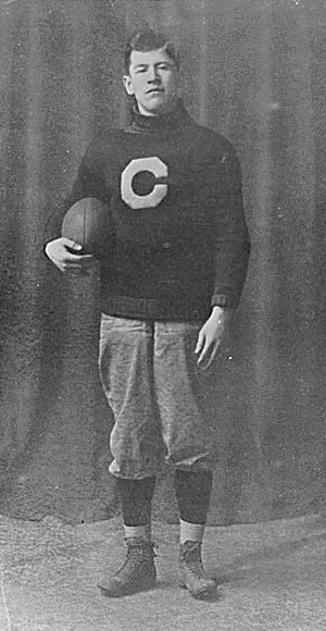 Jim Thorpe pictured in his football uniform circa 1910-1912, from the Carlisle Indian School in Carlisle, Pennsylvania (the first school -off the reservation)-  opened to Indian students.