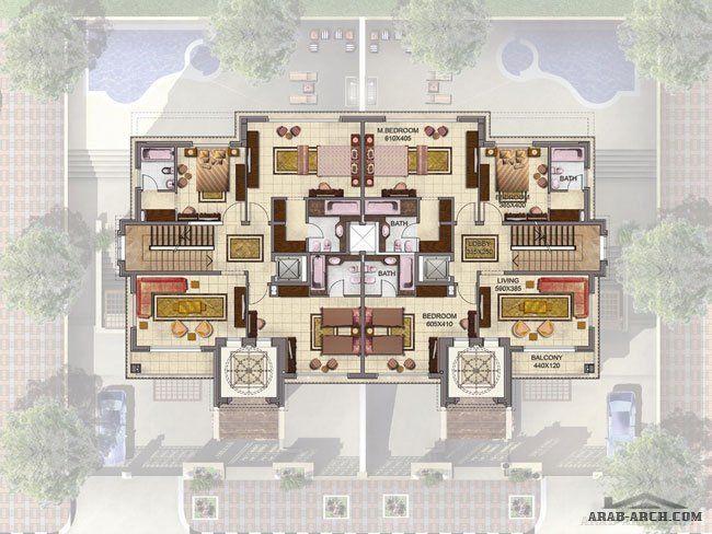 فيلا توأمية فلوريديان سما سيتى Arab Arch House Layouts Fantasy House House Plans