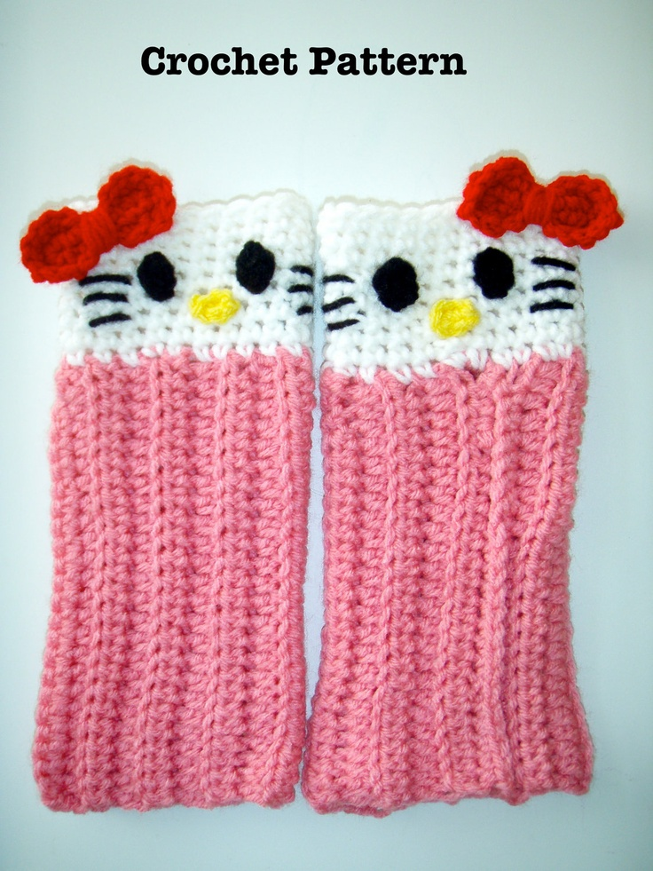 Hello Kitty Dishcloth Knitting Pattern : 114 best images about DIY 1 (Arm,Hand And Leg Warmers) on Pinterest