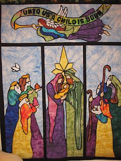 'stained glass' nativity quilt