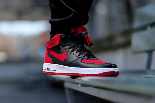 NIKE AIR FORCE 1 MID (BLACK/GYM RED) - Sneaker Freaker   Nike air ...