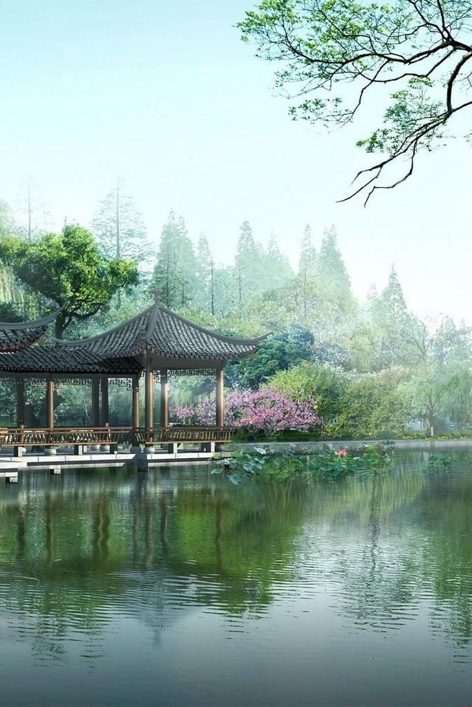 Asian landscape iPhone background