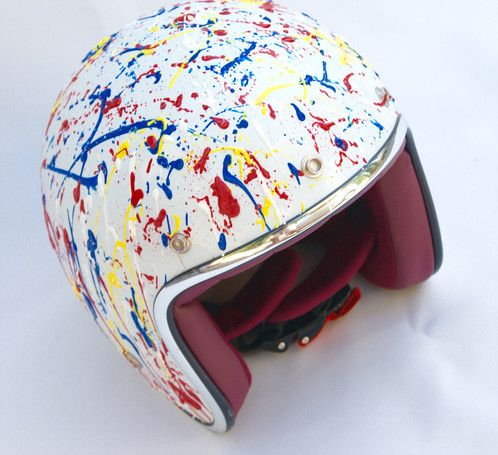 Motorcycle/scooter helmet jet retro vintage, hand-painted primary paint | NKH Painting - Official website