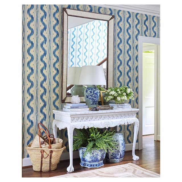 Websta Sarahbartholomewdesign I Love To Have A Plant On Or Under My Entry Table There S Something So Invit Blue And White Wallpaper Foyer Decorating Decor