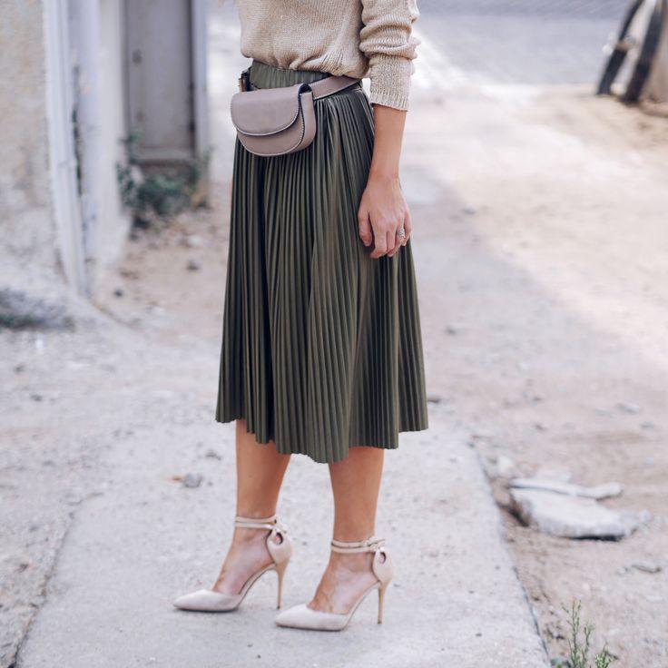 Ootd leather skirt belt bag