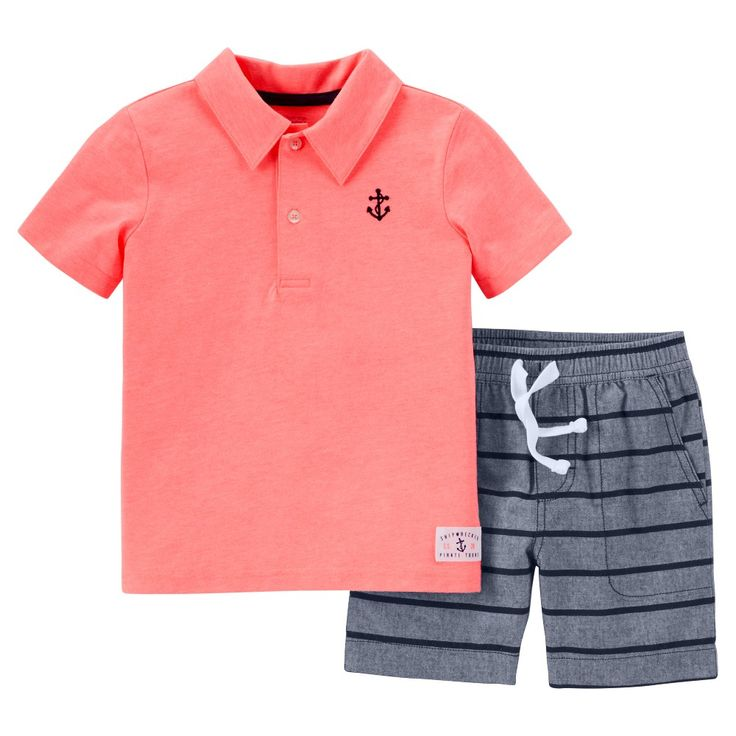 Just One YouMade by Carter\u0027s Toddler Boys\u0027 2 Piece Short Set -  Coral/Chambray