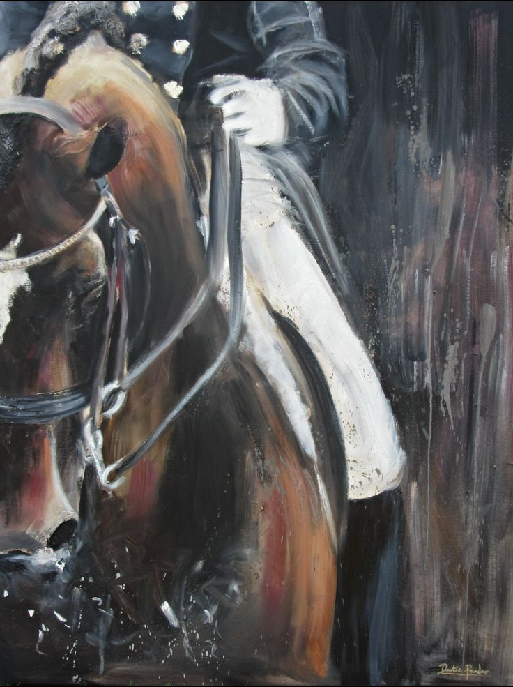 Working as one. I love the way a horse and rider work together. The only Way is with passion and love. This is Oil on Canvass 1,2m by 0,90m #horses #horse #dressage #oilpainting  #art #passion #decor