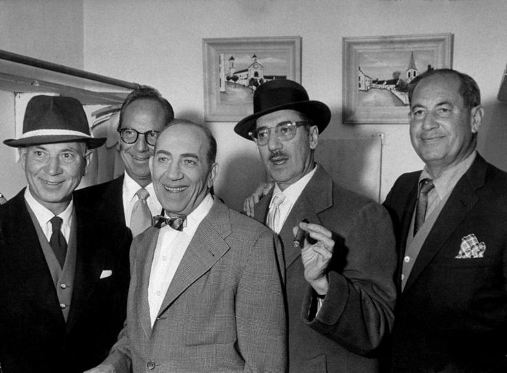 ALL the Marx Brothers (L to R) Harpo Marx, Zeppo Marx, Chico Marx, Groucho Marx, and Gummo Marx ~ picture circa 1957