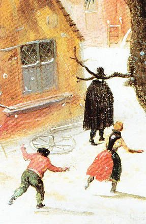 Hendrik Avercamp: Winter's Scene With Skaters By A Castle (Detail) http://annabregmanportraits.co.uk/winter-themes-snowball-fight-paintings/