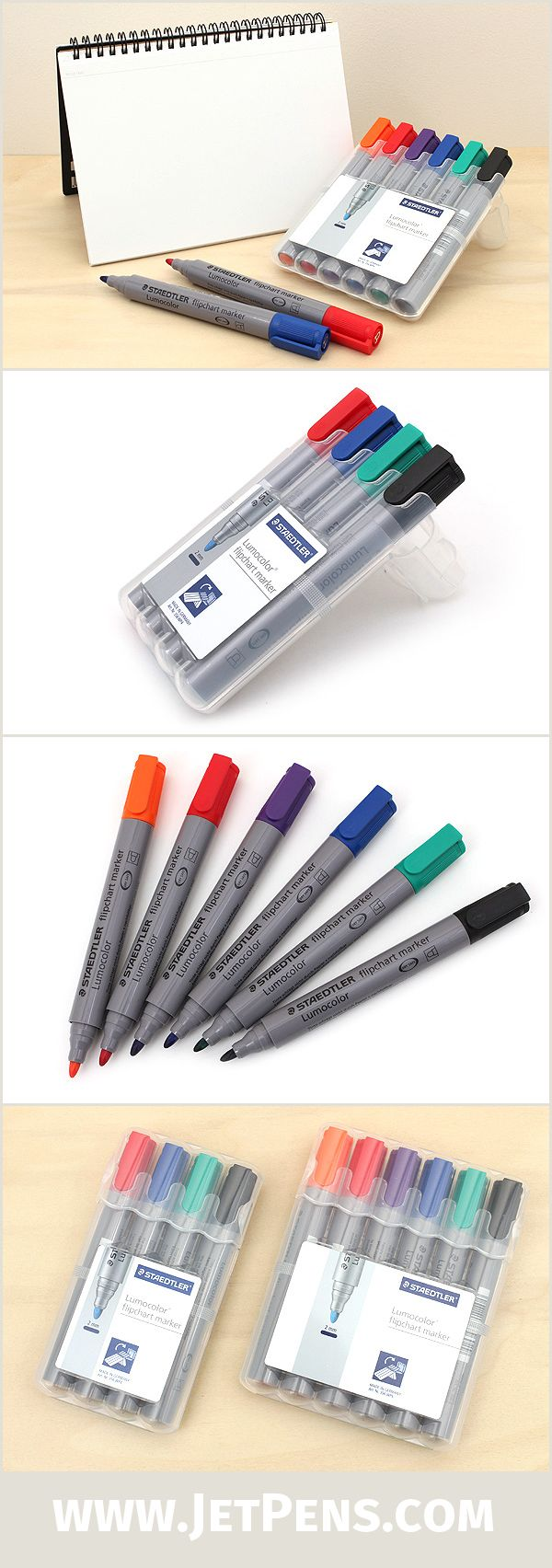 Designed for use with flipcharts and paper signs, the Staedtler Lumocolor Markers contain quick-drying, water-based ink that is great for left-handed writers.