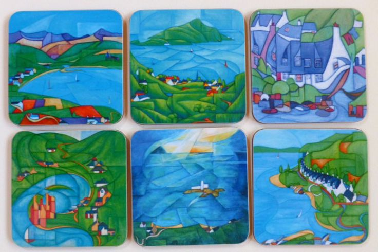 Tableware : Set of 6 coasters of 6 different Arran paintings. Made in Scotland from heat and scratch resistant high quality melamine with cork backing.